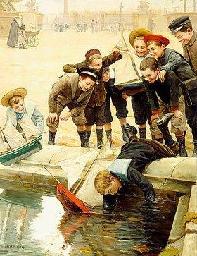 Charles Chocarne-Moreau: Jungen mit ihren Segelbooten