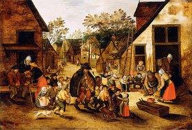 Pieter Brueghel d.J.: Ein blinder Leierkastenmann umgeben von Dorfkindern
