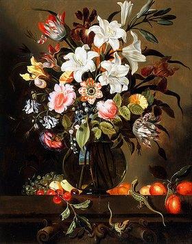 Jacob Marrel: Ein Blumenstrauß mit Früchten und zwei Zauneidechsen