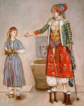 Jean Etienne Liotard: Eine Frau in einer türkischen Tracht gibt in einem Hamam Anweisungen an ihre Dienerin