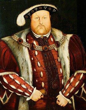 Hans Holbein d.J.: Porträt von König Heinrich VIII (1491-1547) in einem pelzgefütterten Brokatumhang und einem Wams