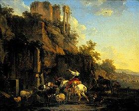 Nicolaes Berchem: Felsenlandschaft mit antiken Ruinen