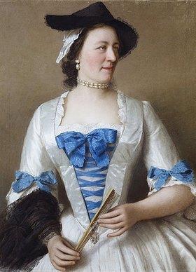 Jean Etienne Liotard: Porträt von Lady Tyrrell in einem weißen Seidenkleid mit moirierten Schleifen