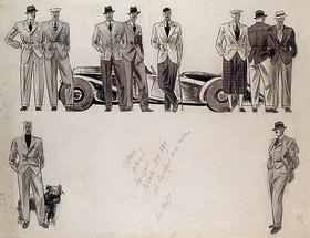 Ernst Deutsch-Dryden: Modezeichnung für 'Adam', zehn männliche Modelle vor einem Auto
