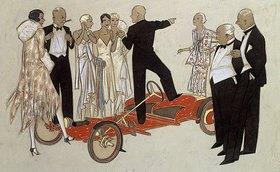 Ernst Deutsch-Dryden: Eine Gruppe von Damen und Herren in Abendgarderobe, einem Sprecher zuhörend, der in einem Bugatti 'Red Bug' steht