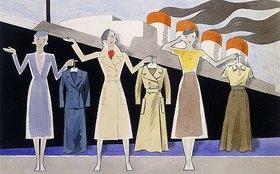 Ernst Deutsch-Dryden: Modeentwurf. Drei weibliche Modelle halten Kleidungsstücke auf Kleiderbügeln, ein Ozeandampfer im Hintergrund