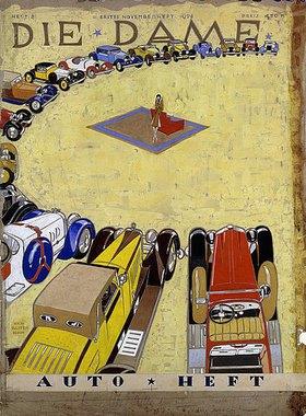 Ernst Deutsch-Dryden: Cover-Entwurf für die Zeitschrift 'Die Dame. Auto Heft. Erstes Novemberheft 1928'
