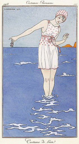 Georges Barbier: Pariser Mode: Badeanzug. Aus 'Journal des Modes et des Dames'
