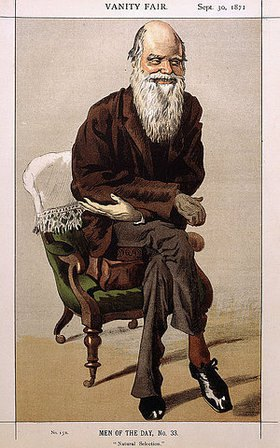 Leslie Matthew Ward: Men of the Day No. 33: Natural Selection. Ein Porträt von Charles Darwin. Aus 'Vanity Fair', Ausgabe vom 30. September