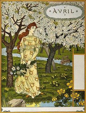 Eugene Samuel Grasset: April. Aus einer Kunstmappe 'Les Mois'