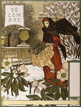 Eugene Samuel Grasset: Dezember. Aus einer Kunstmappe 'Les Mois'