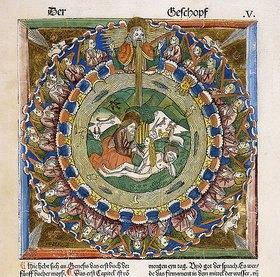 Deutsch: Die Erschaffung Evas. Aus einer deutschen Bibel, dem Meister der Kölner Bibeln zugeschrieben. Herausgegen von Anton Koberger, Nürnberg