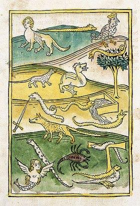 Deutsch: Ungeheuer und Schlangen in einer Landschaft. Aus 'Buch der Natur', von Conrad von Megenberg (um 1309-1374). Gedruckt von Johann Bämler, Augsburg