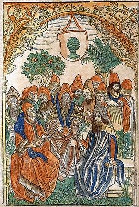 Deutsch: Dreizehn Gelehrte in einem Garten. Aus 'Gart der Gesundheit'. Gedruckt von Johann Schönsperger, Augsburg