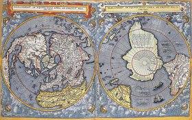 Gerard de Jode: Nord- und Südpol. Aus 'Speculum orbis terrae'. Antwerpen