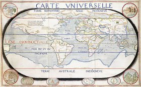 Salomon de Caus: Carte Universelle (Weltkarte). Aus 'Atlas sive cosmographicae...', von Gerard Mercator (1512-1594) und Jodocus Hondius (1563-1611)
