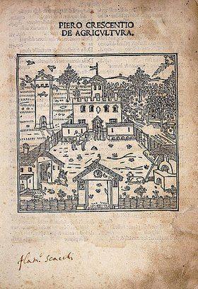 Petrus de Crescentiis (Pietro de' Crescenzi): Titelseite von 'De Agricultura'. Herausgegeben 1495 (italienische Ausgabe 'Ruralia Commoda'. Die Abhandlung von de Crescentiis war der erste moderne, gedruckte Text über Landwirtschaft, gedruckt von Johann Schüssler, Augsburg 1471.)