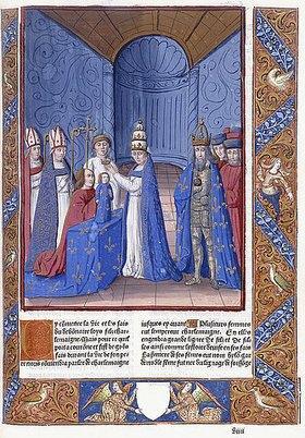 Antoine Vérard: Krönung Ludwig des Frommen. Aus 'Les Grandes Chroniques de France dites de saint-Denis'. Paris