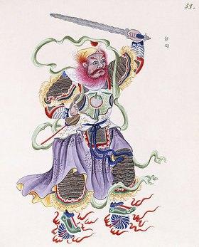 Chinesisch: Eine Figur mit rotem Bart, ein Schwert schwingend und einen goldenen Ring haltend. Aus 'Eine Sammlung von Zeichnungen von Gottheiten und Sagengestalten' (Tafel 53)