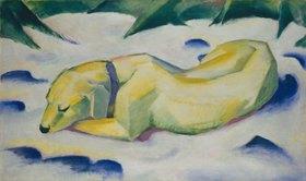 Franz Marc: Liegender Hund im Schnee