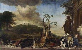 Jan Weenix: Jagdstilleben vor einer Landschaft mit Schloß Bensberg