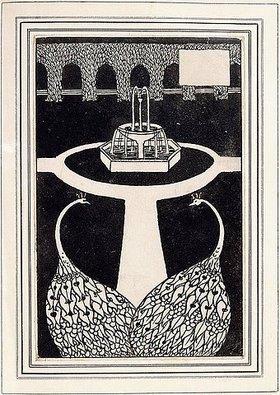 Aubrey Vincent Beardsley: Kapitelseite mit zwei Pfauen in einem Garten mit einem Brunnen. Illustration für 'The Birth Life and Acts of King Arthur, of his Noble Knights of the Round Table...' von Thomas Malory. (1872-1898)
