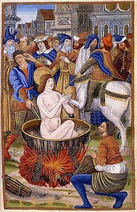 Gilles Hardouyn: Martyrium eines Heiligen. Aus 'Horae. Heures a lusage de Romme...avec les figures de lapocalipse et plusieurs autre hystoires'. Paris
