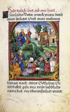Sebald Beham: Die Speisung der Fünftausend. Gebetbuch der Gräfin Dorothea von Mansfield. 1551 (signiert mit den Initialen S.G., möglicherweise stehend für Sebastian Glockendon aus Nürnberg)