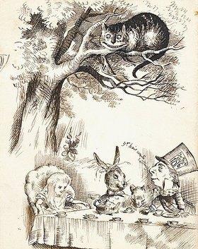 John Tenniel: Szene aus dem Kapitel 'Eine verrückte Teeparty'. Illustration aus 'Alice im Wunderland' von Lewis Carroll (1832-1898)