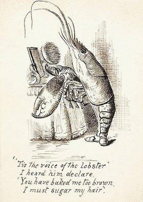 John Tenniel: Der Hummer mit einer Brüste vor einem Frisiertisch. Illustration aus 'Alice im Wunderland' von Lewis Carroll (1832-1898)