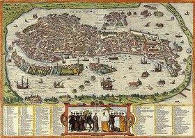 Ansicht von Venedig. Tafel aus 'Beschreibung und Contrafactur der Vornembster Stät der Welt' von Georg Braun (1541-1622) und Frans Hogenberg (1535-1590)