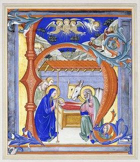 Don Simone Camaldolese: Initiale 'N' mit der Geburt Christi (aus einem Choralbuch). Florenz