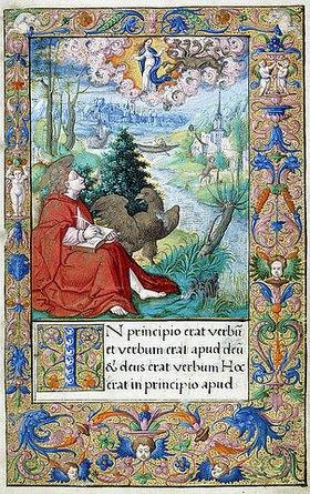 Französisch: Johannes auf Patmos, aus einem Stundenbuch für Franz I., Paris oder Tours