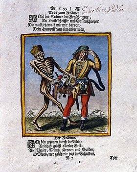 Matthäus Merian d.Ä.: Der Tod und der Krämer. Aus einem Totentanz. Gedruckt und koloriert