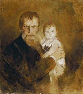 Franz von Lenbach: Selbstbildnis mit Tochter
