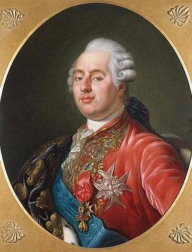 Joseph Boze: Brustbild von König Ludwig XVI von Frankreich mit dem Orden vom Goldenen Vlies, dem Orden vom heiligen Geist und einer mit der bourbonischen Lilie bestickten Draperie über seiner rechten Schulter