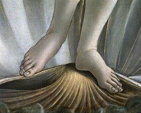Sandro Botticelli: Geburt der Venus. Detail: Füße und Muschel