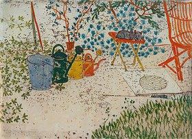 Paul Klee: Gartenscene (Gießkannen, e. Katze, e. roter Stuhl)