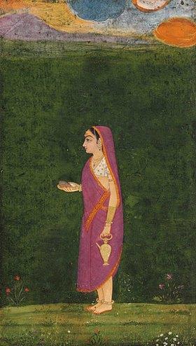 Indien: Bildnis einer Liebhaberin in einem rosafarbenen Sari mit orangefarbener Bordüre über einer weißen Bluse und Goldschmuck, einem Tilaka auf ihrer Stirn, eine Schale und ein Wassergefäß haltend, umgeben von Blumen und über ihr ein Abendhimmel