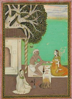 Indien: The chooriyanwallah. Um 1820 (Eine vornehme Dame sitzt vor einem Chooriyanwallah, der ihr Glasarmreifen anpasst, seine Handwerkszeuge und weitere Armreifen liegen vor ihm. Daneben ein Feuer für die weitere Produktion. Seine Frau sitzt vor ihrem Haus und