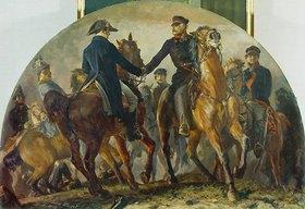 Adolph von Menzel: Blüchers Begegnung mit Wellington nach der Schlacht v. Belle-Alliance (Waterloo)