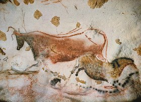 Unbekannter Künstler: Höhle von Lascaux. Axiales Divertikel, Decke und rechte Wand: Rote Kuh und erstes 'chinesisches Pferd'. Ca. 17.000 v. Chr