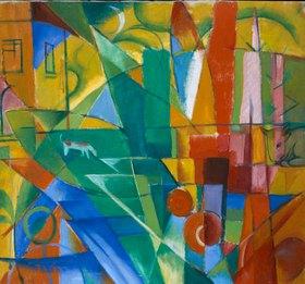 Franz Marc: Landschaft mit Haus, Hund und Rind