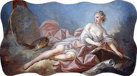 Jean Honoré Fragonard: Personifikation der Malerei. (Eines von vier Gemälden mit Personifikationen der Künste, siehe auch Bildnummern 45380, 45381 und 45383)