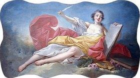Jean Honoré Fragonard: Personifikation der Literatur. (Eines von vier Gemälden mit Personifikationen der Künste, siehe auch Bildnummern