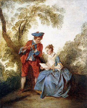 Nicolas Lancret: Ein musizierendes Paar in einer Landschaft