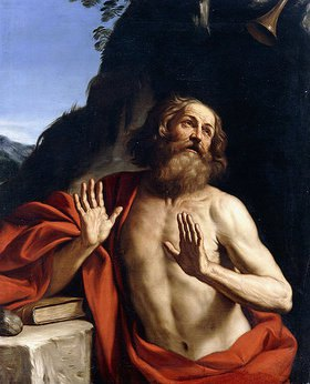 Guercino (Giovanni Francesco Barbieri): Der heilige Hieronymus in der Wüste