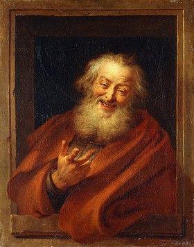 Charles Antoine Coypel: Der heitere Demokrit (Demokrit (um 470-360 B.C.) wird nachgesagt, er hätte beständig über die Torheit und Selbstgefälligkeit der Menschheit gelacht. Teil eines Bildpaars, siehe auch Bildnummer 45420.)