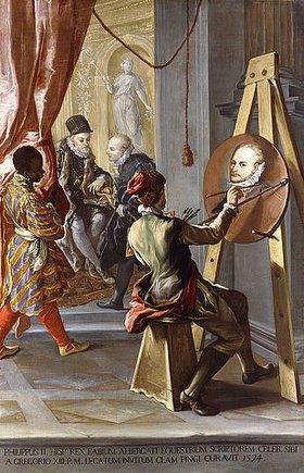 Gian Antonio Burrini: Fabio Albergati wird von Philipp II. von Spanien empfangen, während ein Künstler ihn auf Anweisung des Königs heimlich malt