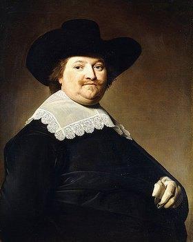 Johannes Verspronck: Porträt eines Herren in Schwarz mit einem weißen Spitzenkragen und einem schwarzen Hut